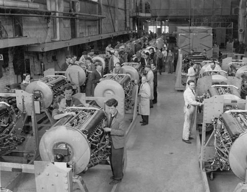 Workers at the Downsview Plant during the Second World War. To learn more about its history during this era, please read this recent CBC News article,