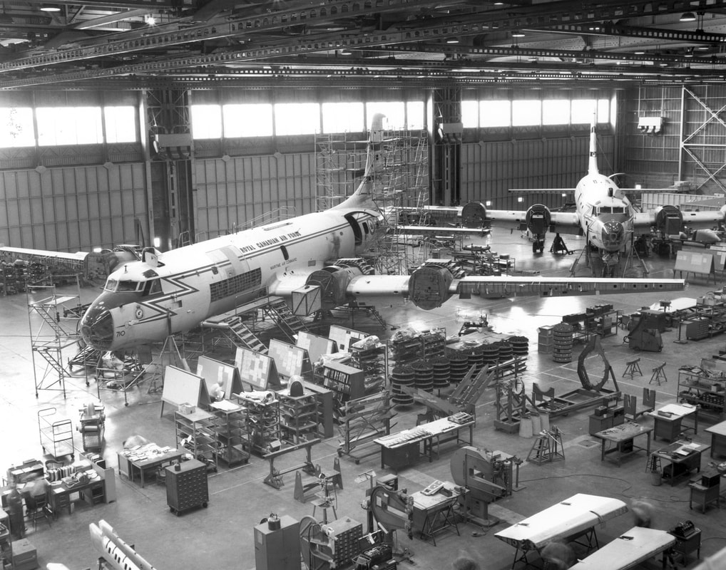 Canadair Argus patrol aircraft in heavy maintenance