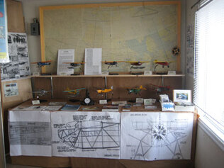 One room of Max Ward's old float base building was filled with models and information from local flying lore. This display was largely organized by CAHS members Gordon Piro and Mike Burns.