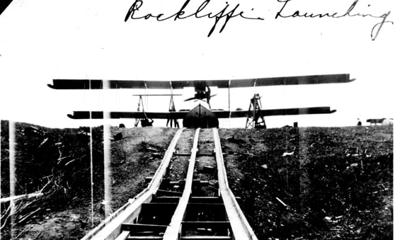 A view of the Ottawa River bank looking up to Rockcliffe Air Station. This photo was taken before the new ramp was built, and shows the height and steepness of the river bank up and down which aircraft were lowered.